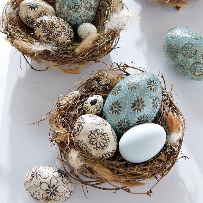 Uova decorate - bellissima ispirazione quelle azzurre