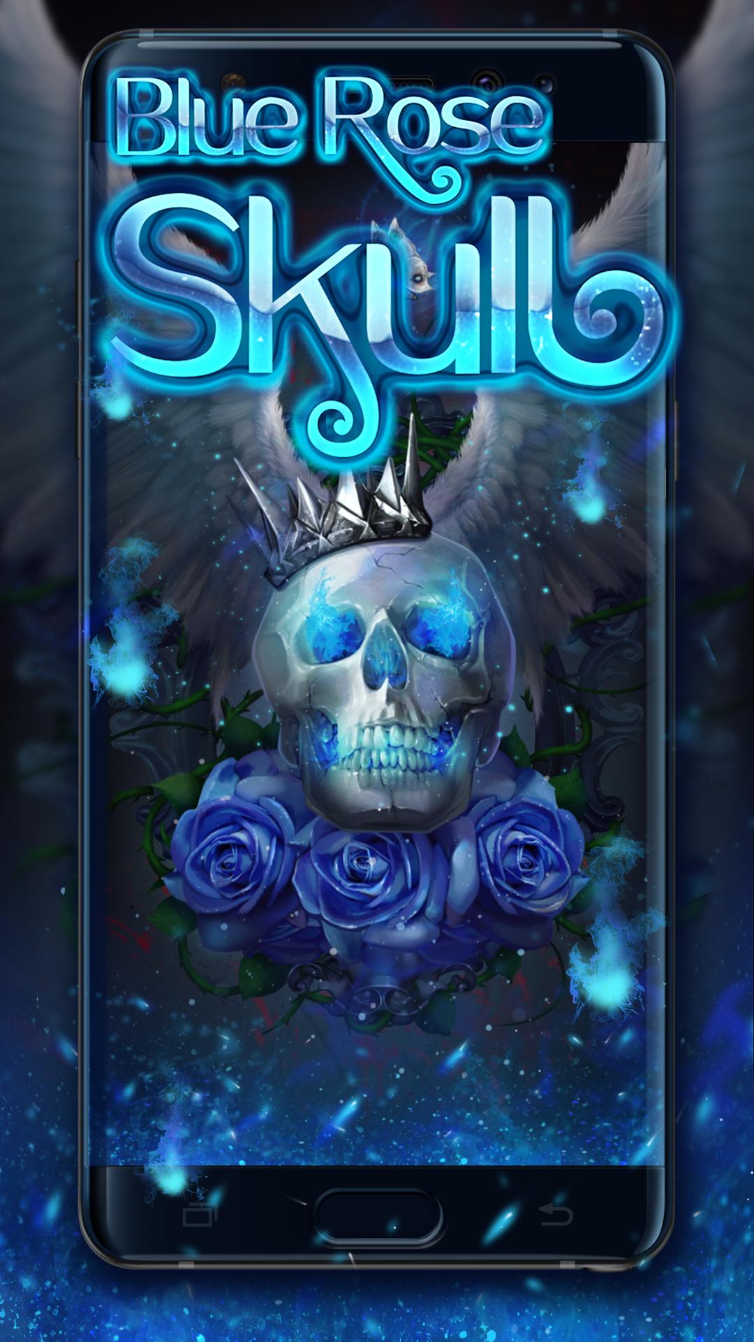 blue rose skull live wallpaper