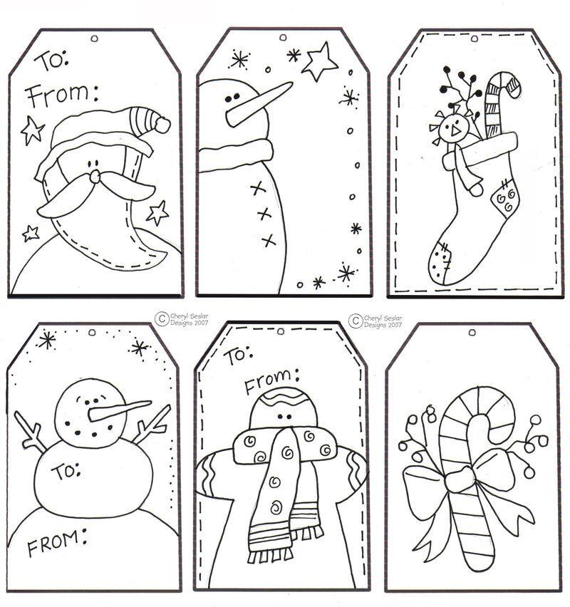 kids color printable tags | CHRISTMAS!! | Pinterest | Dibujos de ...