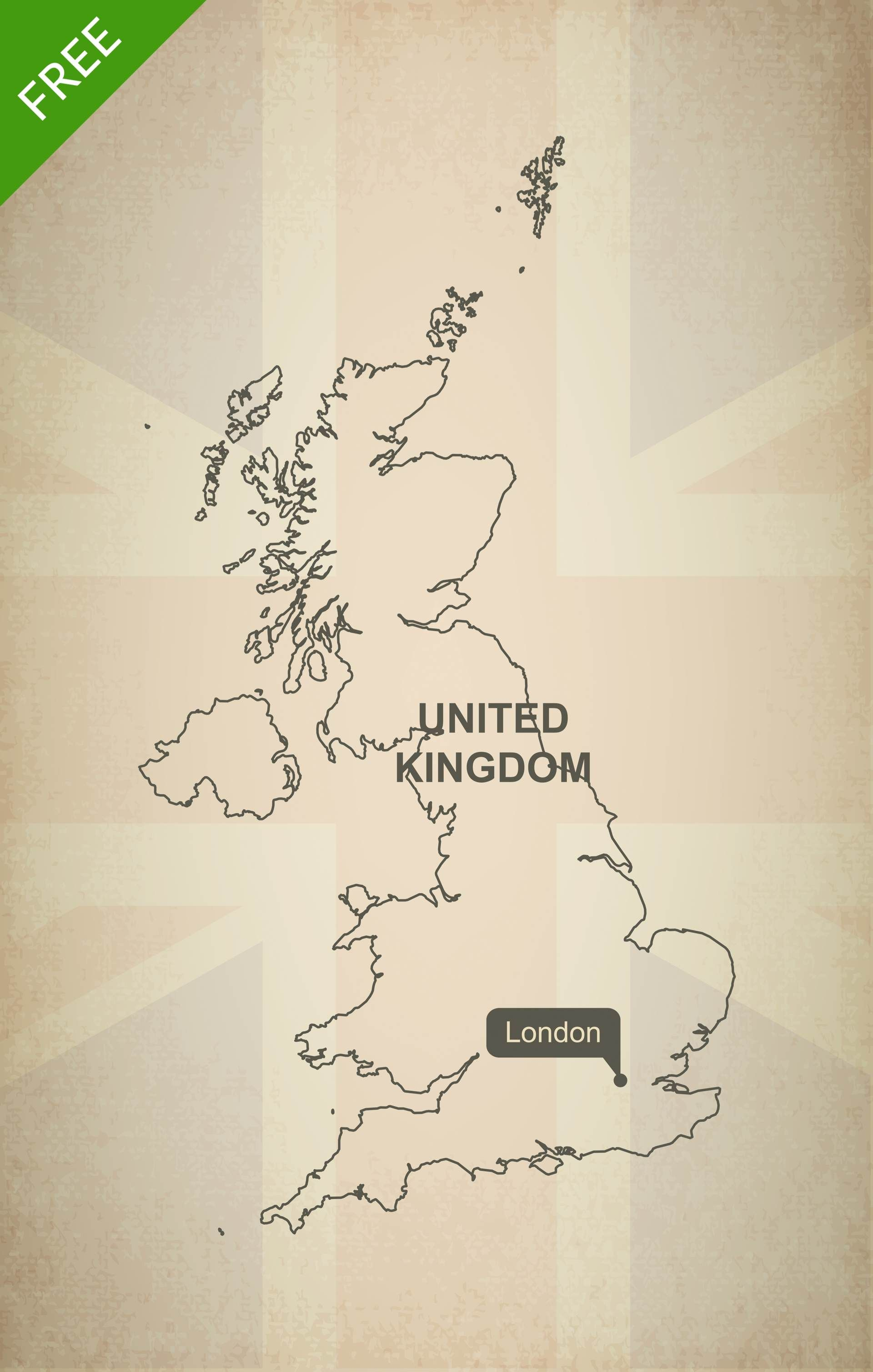 Free Vector Map Of United Kingdom Outline Vector Format Europe - United kingdom map hd pdf