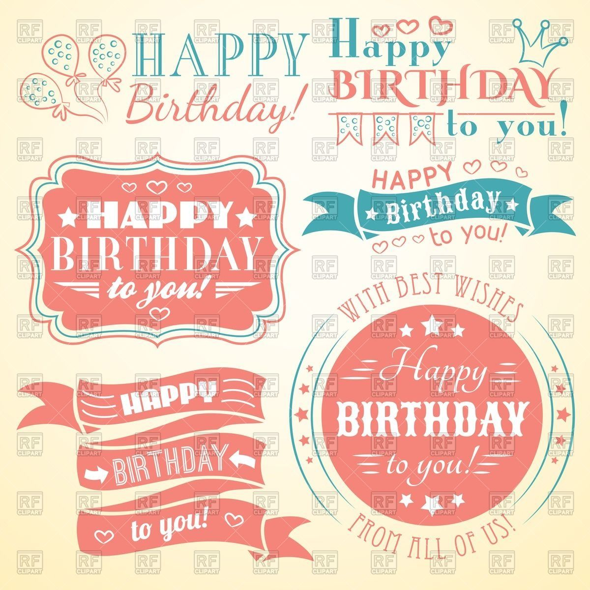 Happy birthday - retro banners, labels, greeting cards and frames ...