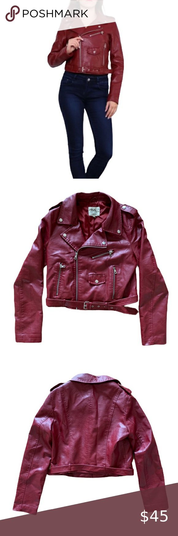 Softy Red Pleather Crop Motorcycle Zipper Jacket L Softy Outerwear Collection Dark Red Bordeaux Pleather Crop Motorcycl Beautiful Jacket Zipper Jacket Pleather [ 1740 x 580 Pixel ]