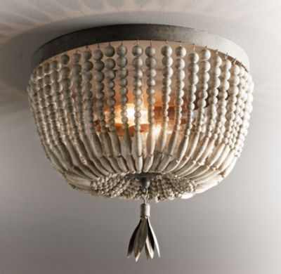 Rh Baby Child S Dauphine Wood Flushmount Adorned With Strands Of