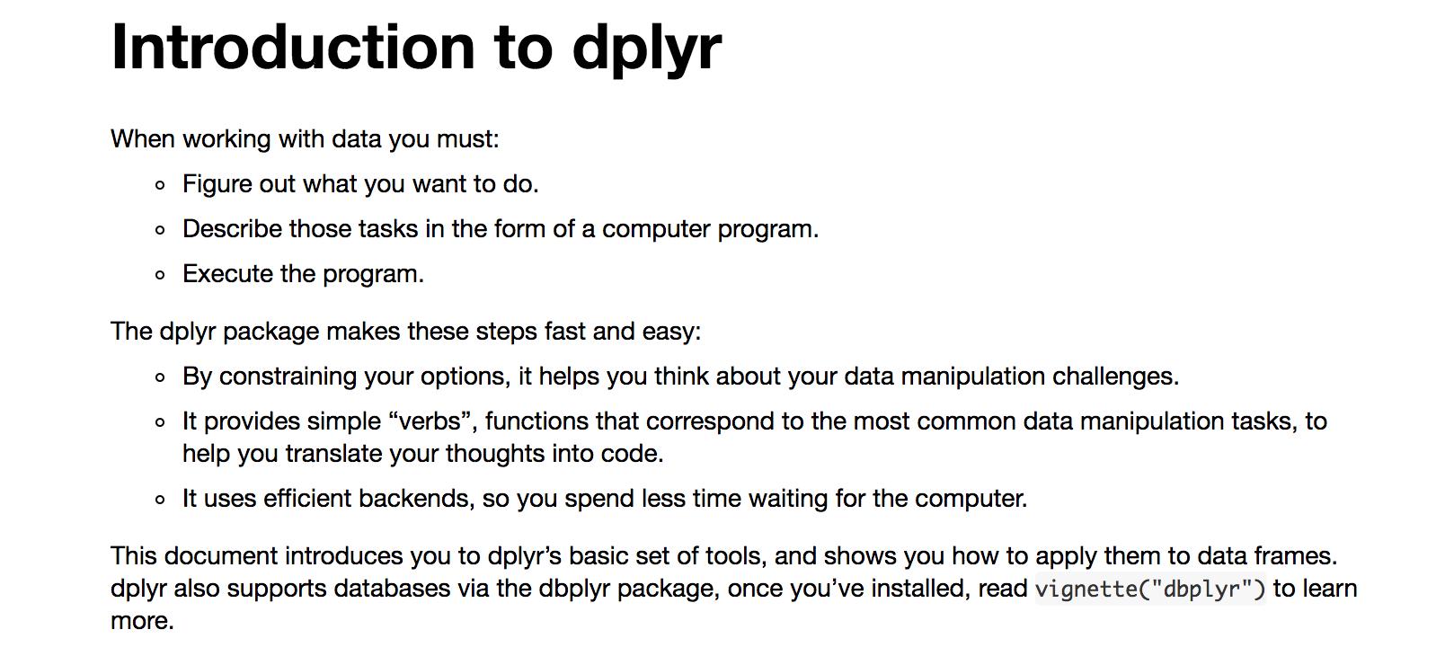 R package: dplyr (good for data frames) | R tips | Pinterest | Vignettes