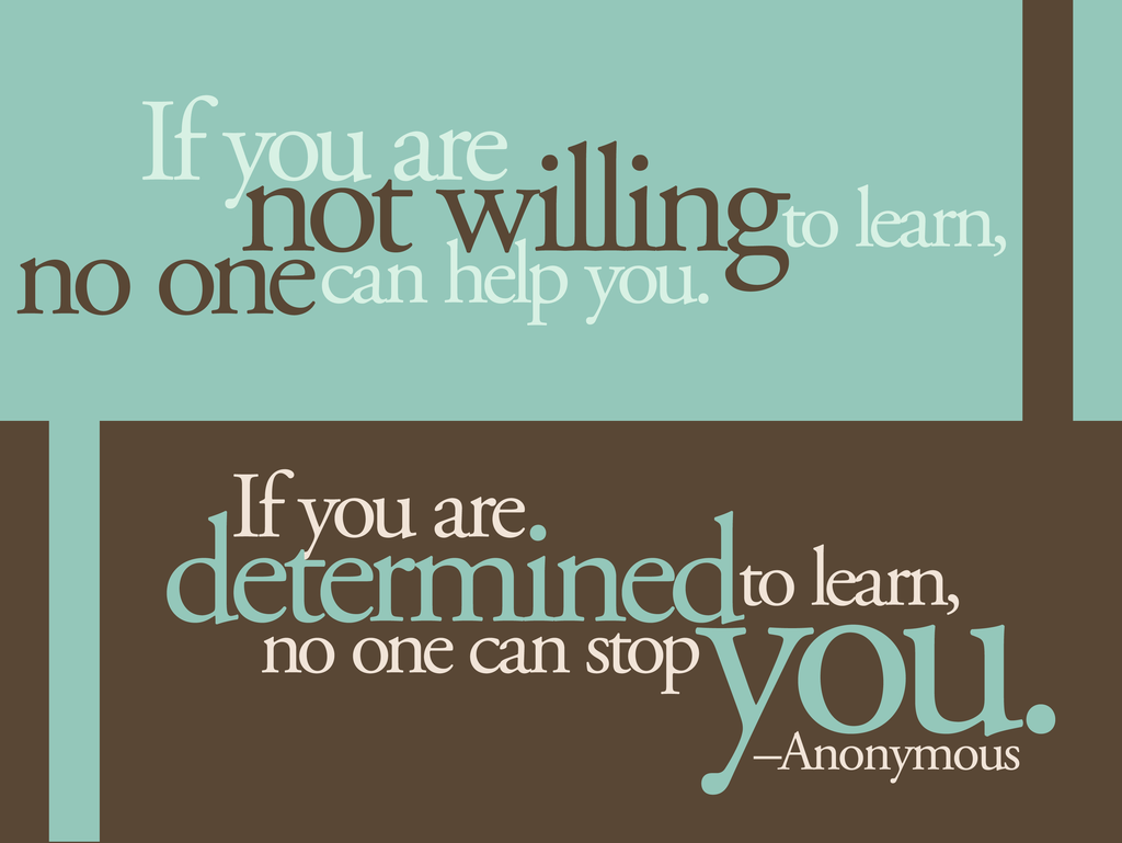 If you are not willing to learn, no one can help you. If you are ...