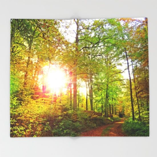 MM - Evening sun in the fall forest Throw Blanket
