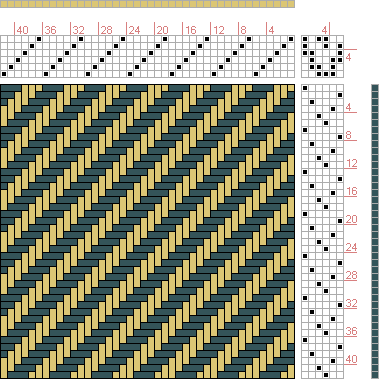 Hand Weaving Draft: No. 6. Six Shaft Twill., J. and R. Bronson, 6S, 6T - Handweaving.net Hand Weaving and Draft Archive