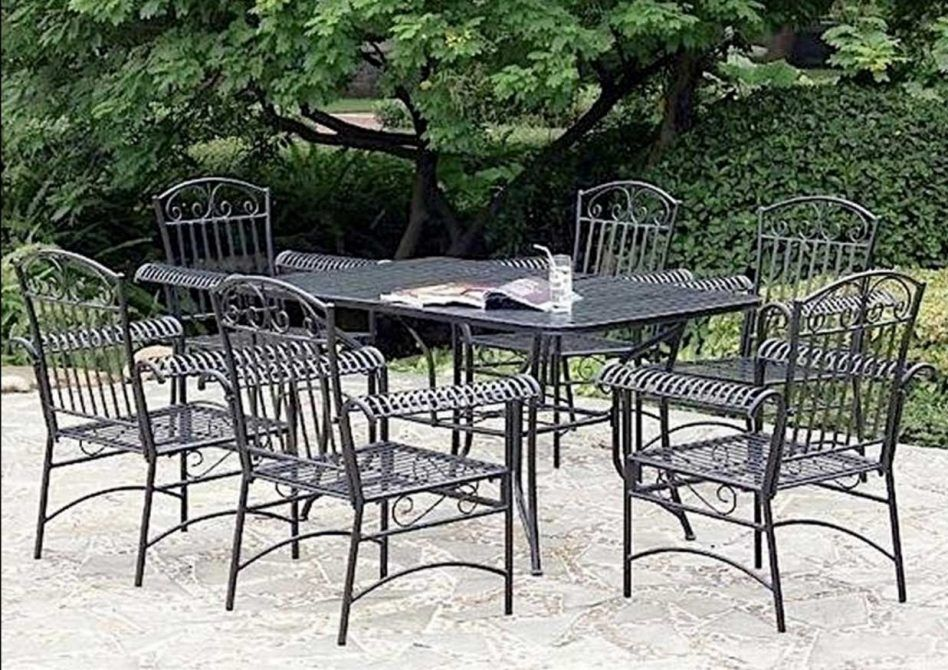 Vintage Wrought Iron Table And Chairs, Antique Rod Iron Patio Furniture