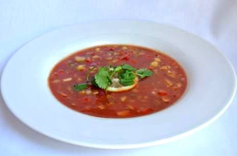 Menu Item: Harris Ranch Gazpacho - Garnished with fresh lemon and cilantro. Try it with chilled shrimp.