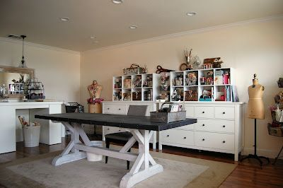 Large Work Table In Center Of Room Love Via Vintage Handmade Home Craft Room Craft Room Storage