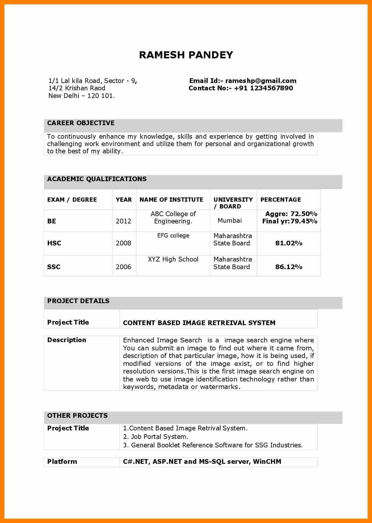 Resume Examples For Freshers Pdf