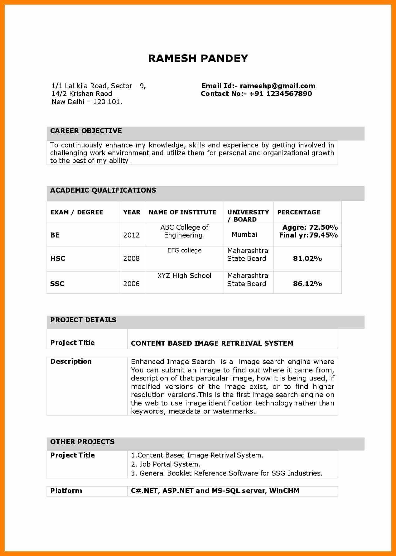 Resume Format India Resume Format Resume format in