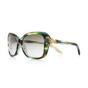 bbec473e635 Tiffany Garden butterfly sunglasses in acetate with Austrian crystals.  Butterfly sunglasses in ocean turquoise acetate with gradient green lenses  and pale ...