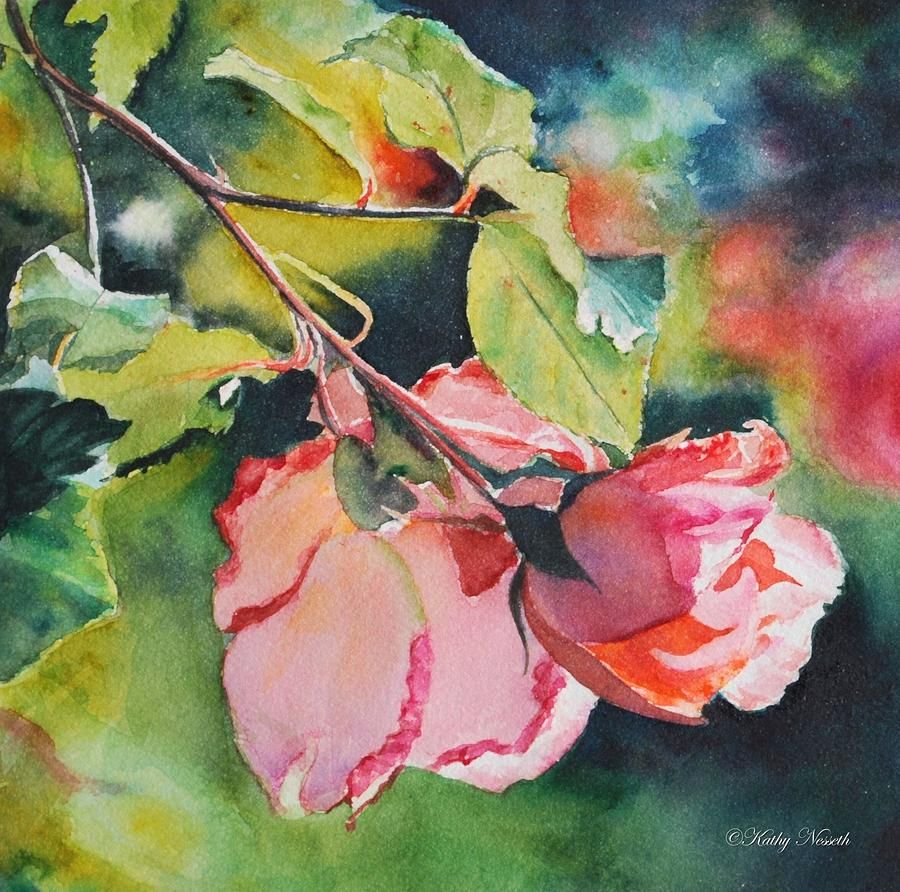 Fine watercolor art for sale - Kathy S Roses Painting By Kathy Nesseth Kathy S Roses Fine Art Prints And Posters For Sale