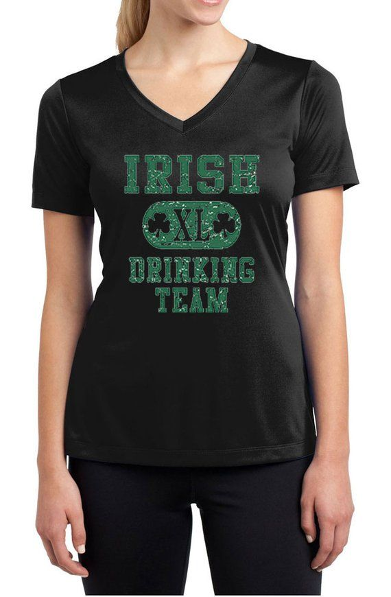 ed233ae7 St Patrick's Day Ladies Shirt Irish Drinking Team Moisture Wicking V-neck  Tee T-Shirt A8727D-LST353
