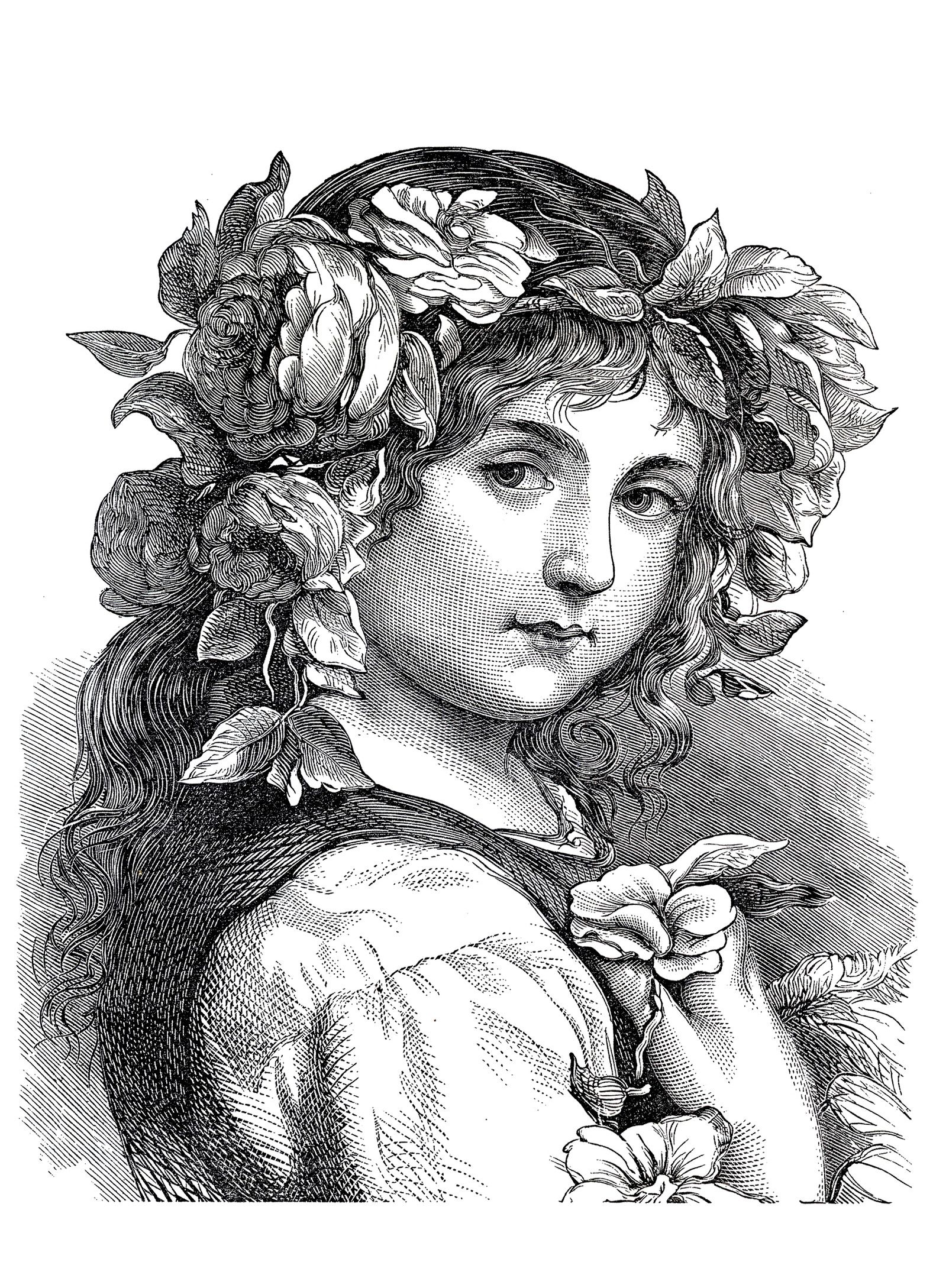 adult engraving flower girl 1868 coloring pages printable and coloring book to print for free find more coloring pages online for kids and adults of adult - Flower Girl Coloring Book