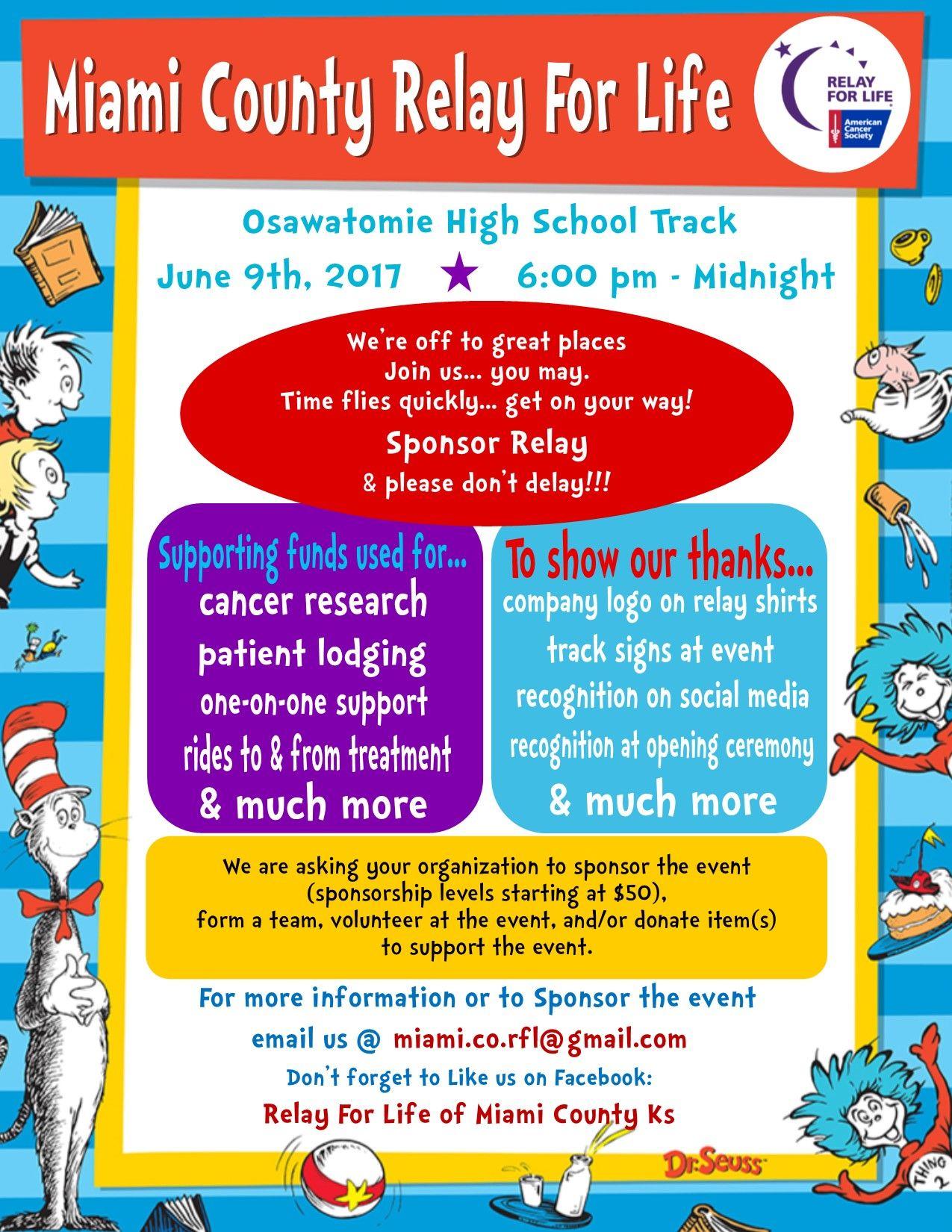Relay For Life Sponsorship Flyer Dr Seuss Theme Relay For Life Relay Life