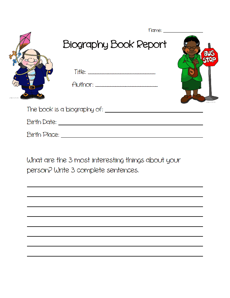 Biography Book Report ProjectPdf  Literacy    Book