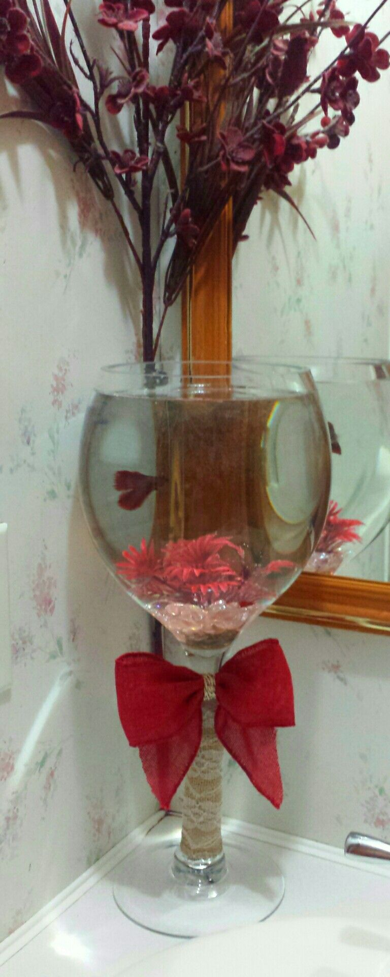My Diy Wine Glass Betta Fish Bowl Added A Lil Lace Burlap A Big Red Burlap Bow Voila My Betta Looks Beau Glass Fish Bowl Diy Wine Glass Betta Fish