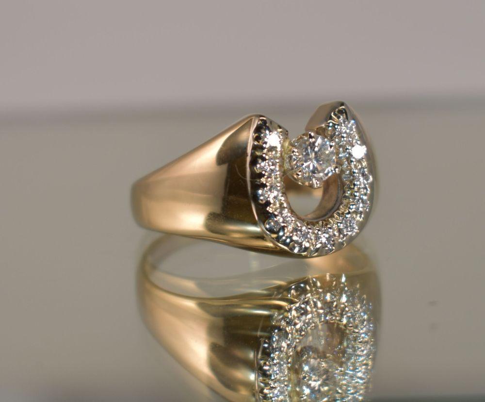 14 K Yellow Gold 57 Ct Tcw White Diamond Men S Horseshoe Ring Size 11 1 2 Horseshoe Ring White Diamond Ring Size