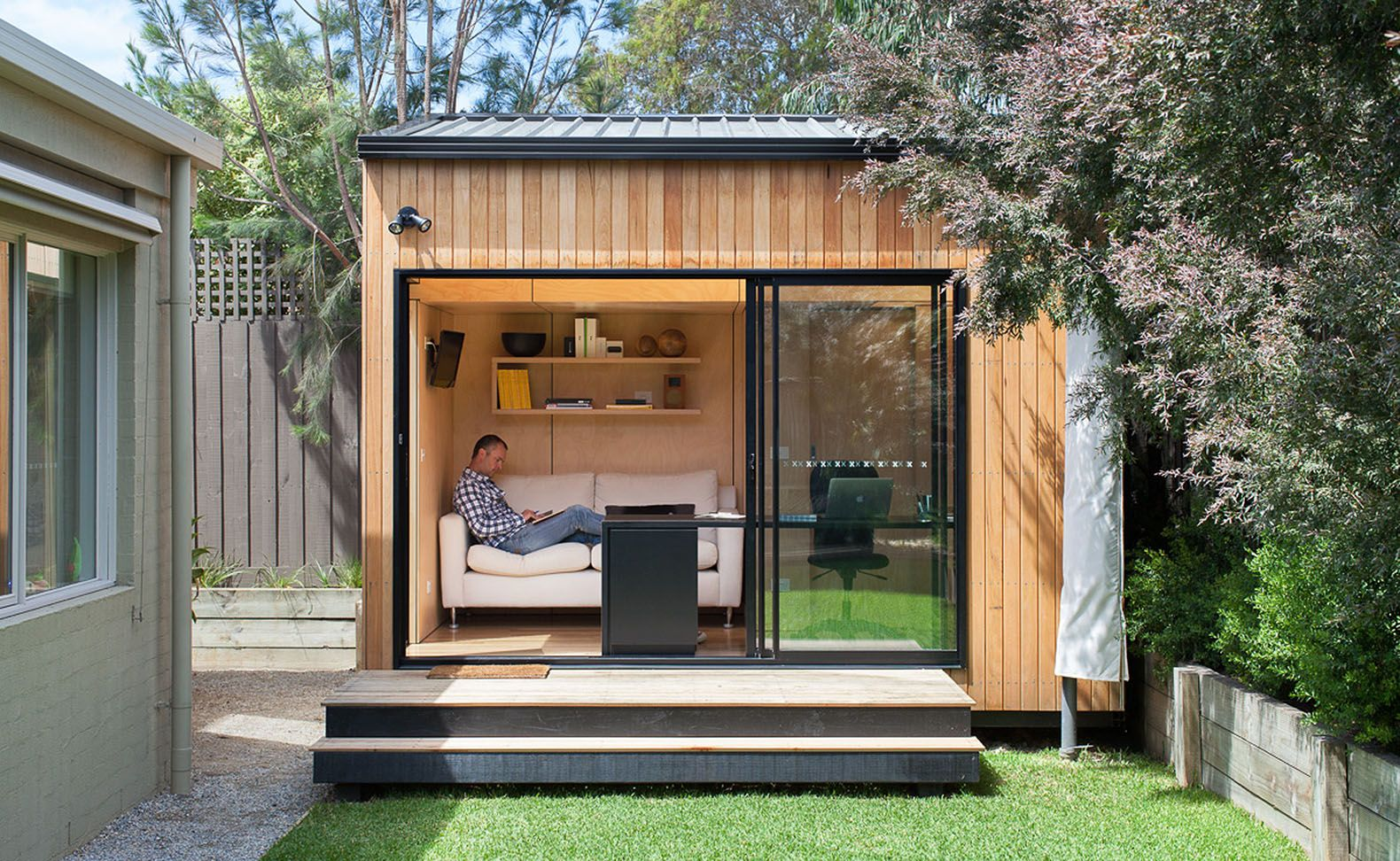 Green roof-ready Backyard Room pops up in six short weeks   Shed design,  Livable sheds, Building a shed