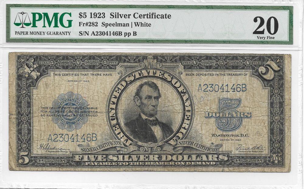 1923 5 Silver Certificate Speelman White Fr 282 Pmg 20
