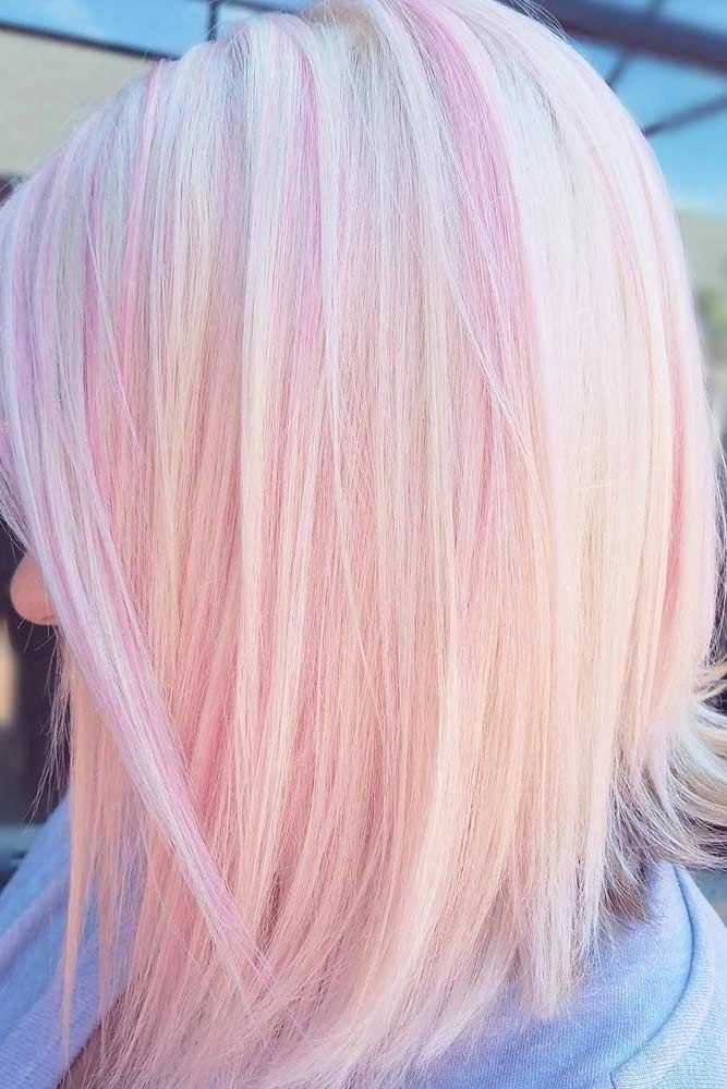 Medium Straight Balayage Hair Mediumstraightbalayagehair Pink Blonde Hair Blonde Hair With Pink Highlights Light Pink Hair