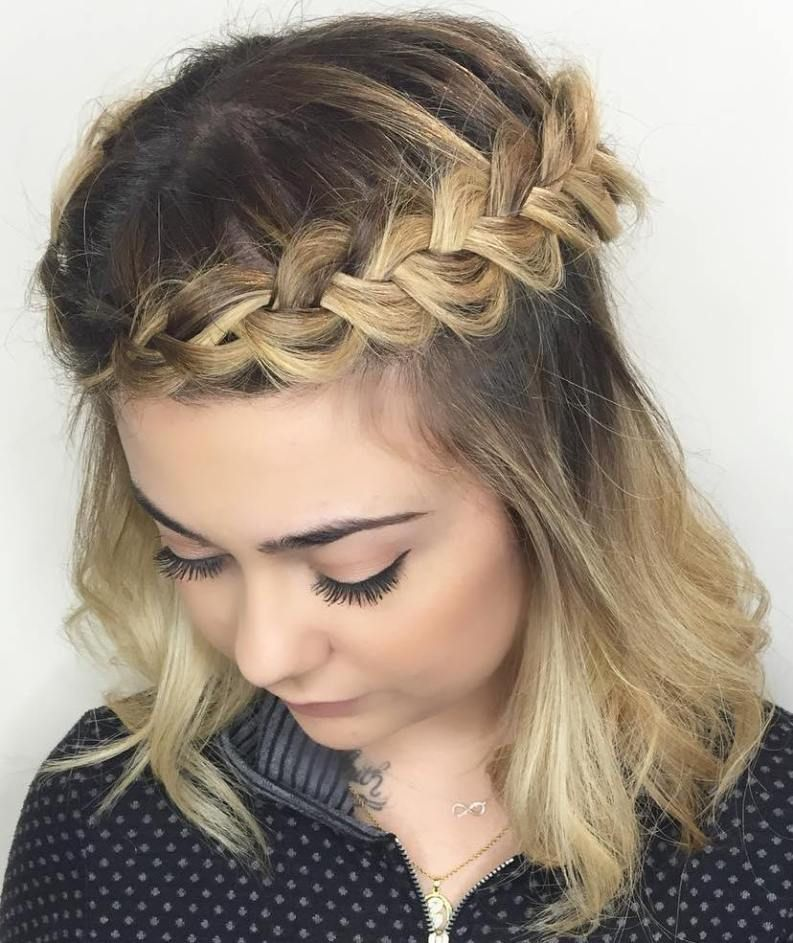 Medium Half Updo With Crown Braid