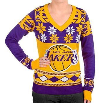 Buy Now Klew Nba Los Angeles Lakers Women S V Neck Sweater Yellow Medium For Christmas Gifts Idea