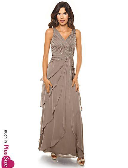Ashley Brooke by heine - Abendkleid mit Plisseefalten helltaupe im ...