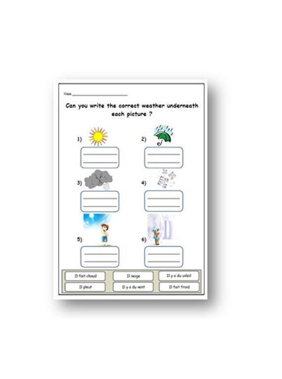 LANGUAGE RESOURCES Weather Vocabulary FRENCH Learning