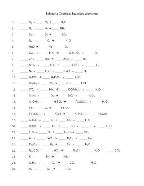 Balancing Chemical Equations Worksheet 50 Questions Tessshebaylo