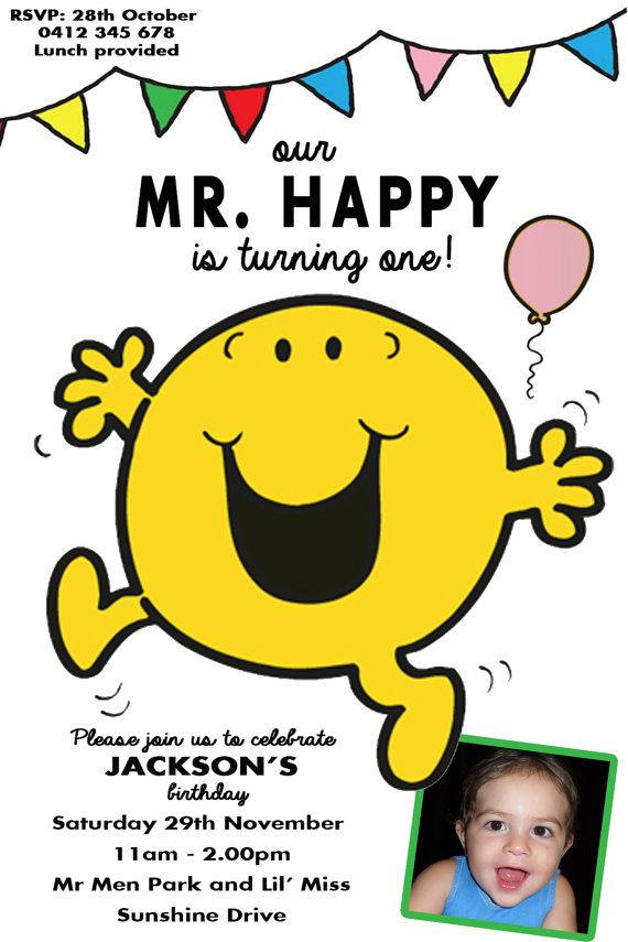 MR Happy MEN Invitation Birthday Party Mr By Jacknjilldesign