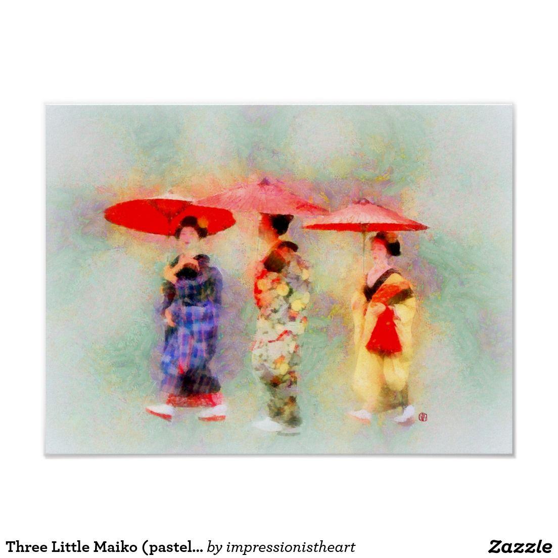 Three Little Maiko (pastel version) Poster