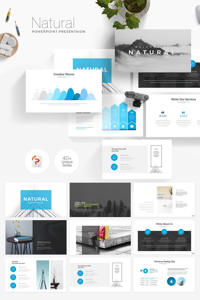 Natural Minimal Presentation PowerPoint Template | Illustrations