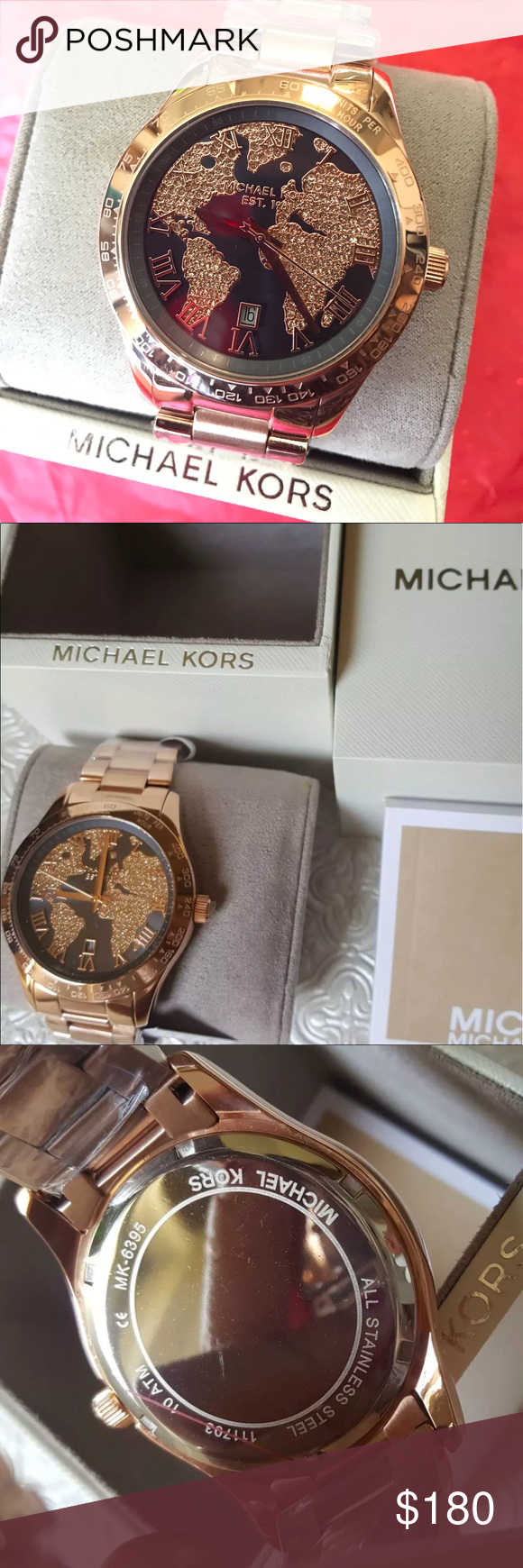 Nwt michael kors glitz world map watch rose gold nwt map watch nwt michael kors glitz world map watch rose gold last one brand new with tag gumiabroncs Images