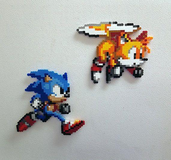 Sonic Perler Beads Tails Bead Sprite 8 Bit Pixel Art By Perlpop Perler Beads Perler Bead Art Pixel Art