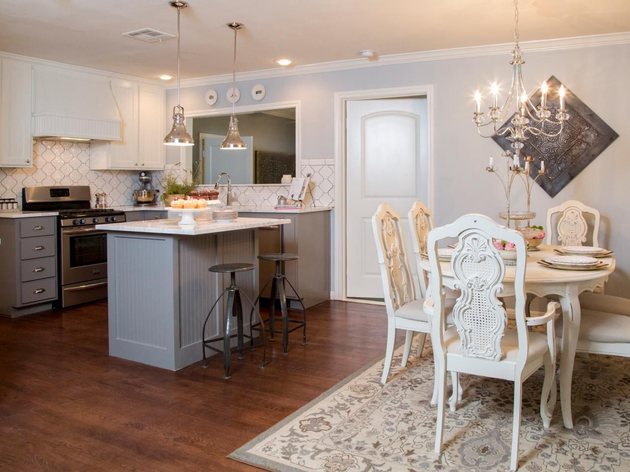 Now The Kitchen And Dining Room Blend Seamlessly Clunky Peninsula Has Been Replaced With An Efficient Island That Doubles As A Breakfast Bar
