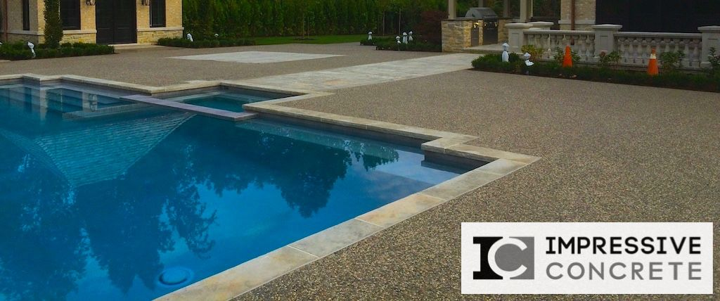 Exposed Aggregate Concrete Pool Deck Ideas For The House