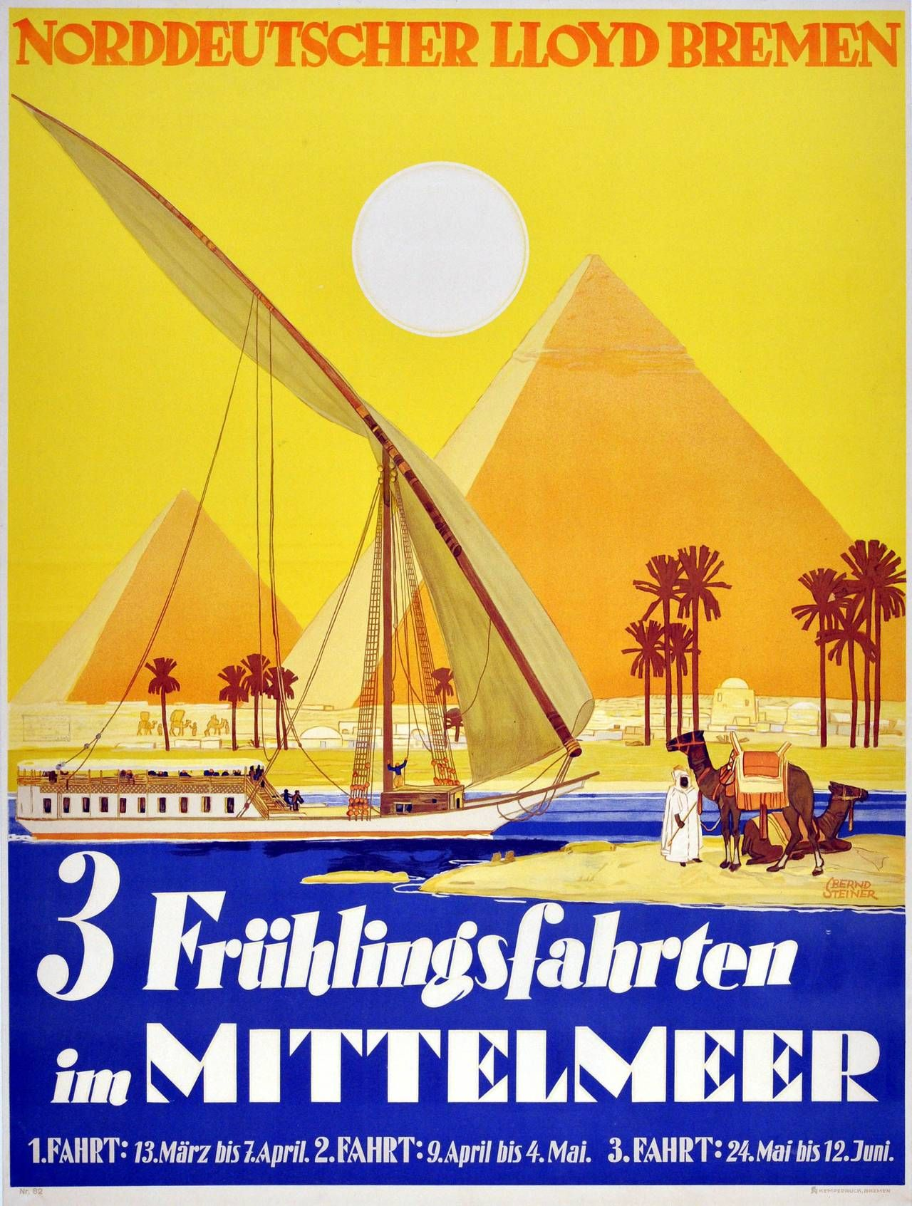 Original 1920s Spring Cruises Poster For Egypt By Norddeutscher ...