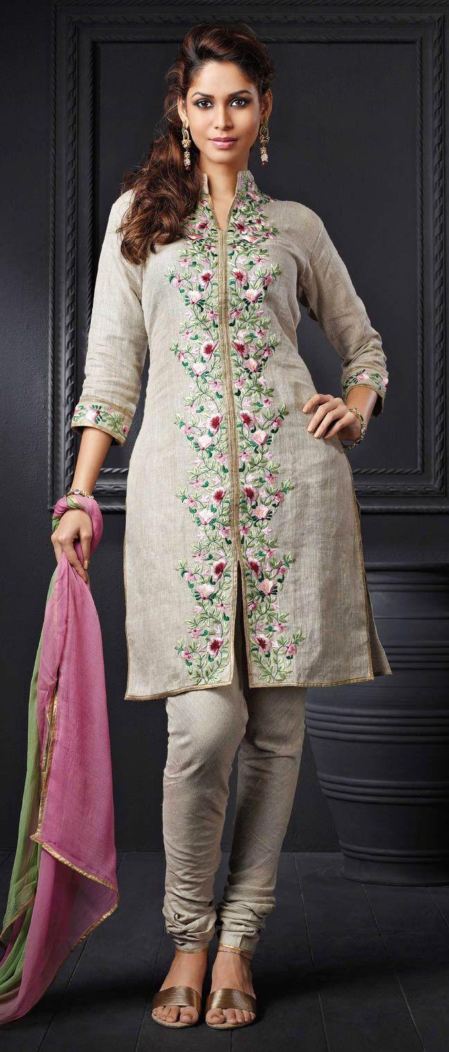 Dusty Beige #Cotton Readymade #Churidar Kameez @ $143.49