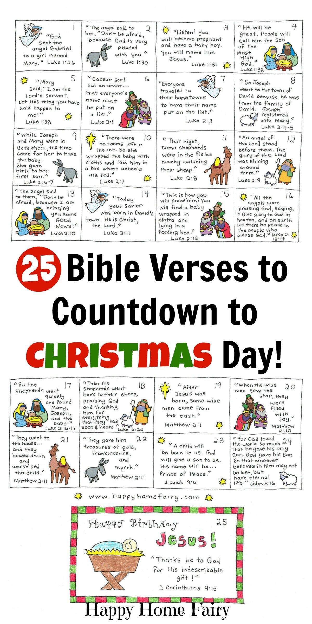 Bible Verse Advent Countdown for Kids - FREE Printable | Christmas ...
