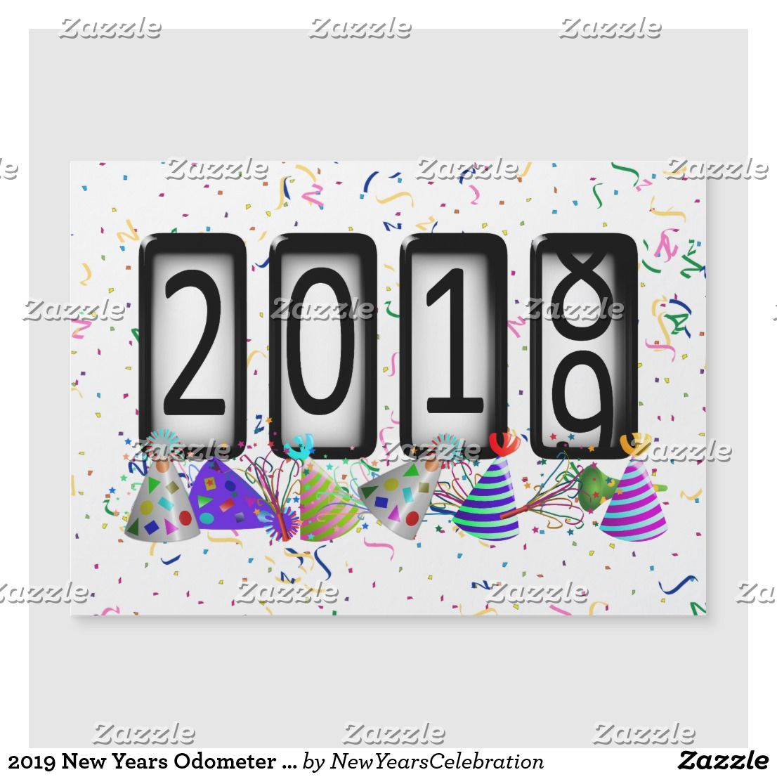 2019 New Years Odometer - Party Hats and Confetti | Holiday ...
