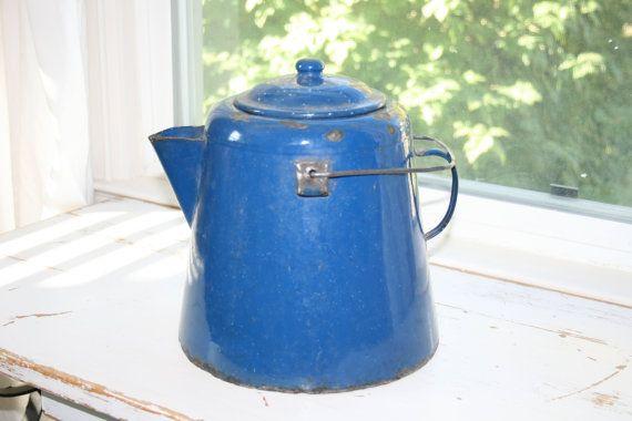 Extra Large Vintage BLUE ENAMELWARE  Coffee/Hot by VintageTale, $52.75