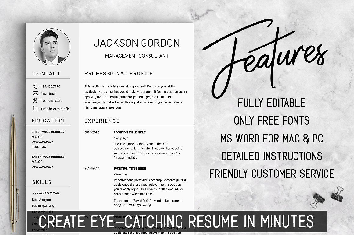 Professional RESUME TEMPLATE / JG Resume template