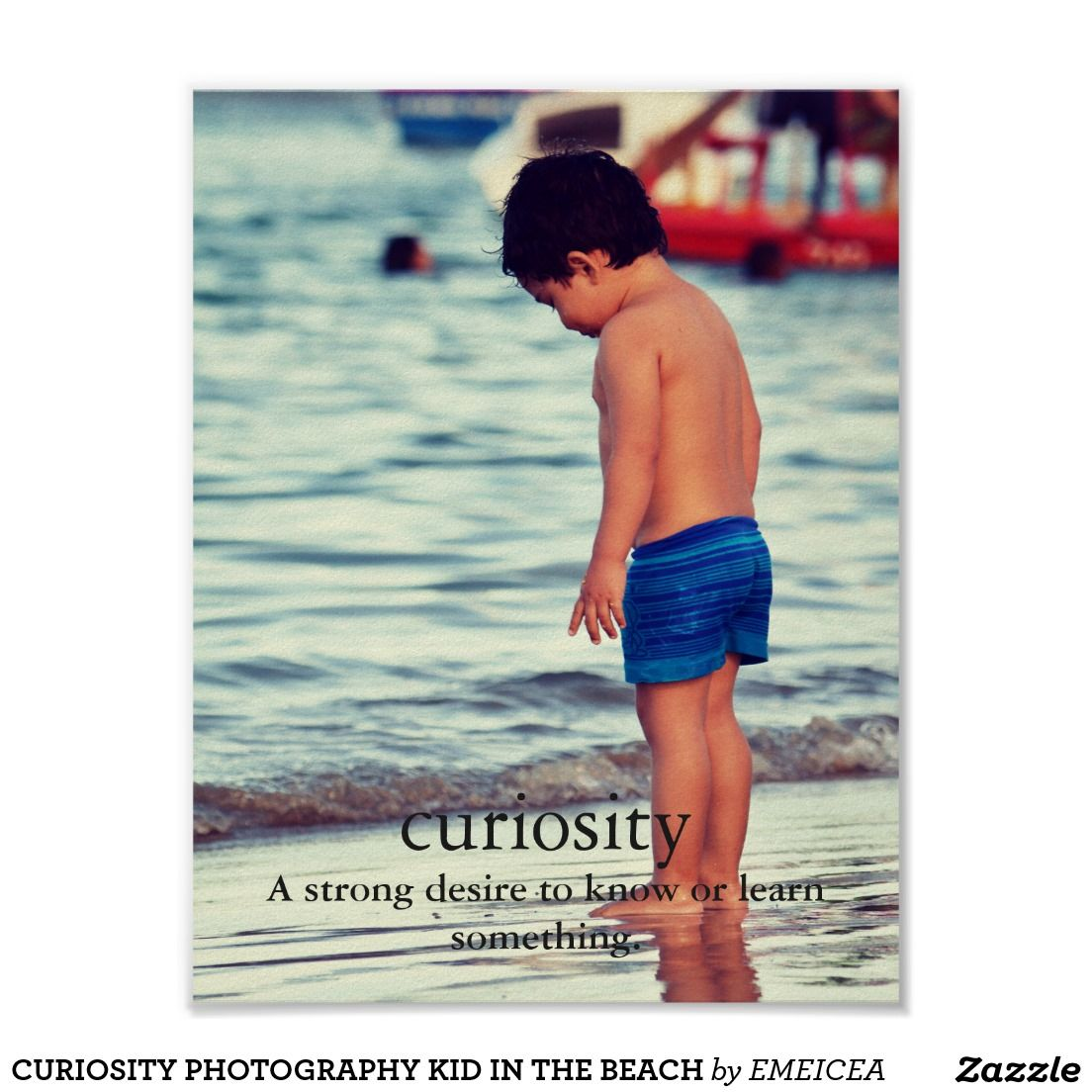 CURIOSITY PHOTOGRAPHY KID IN THE BEACH PÓSTER