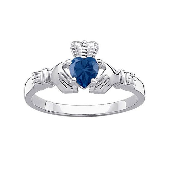 Simulated Birthstone Claddagh Ring In Sterling Silver 1