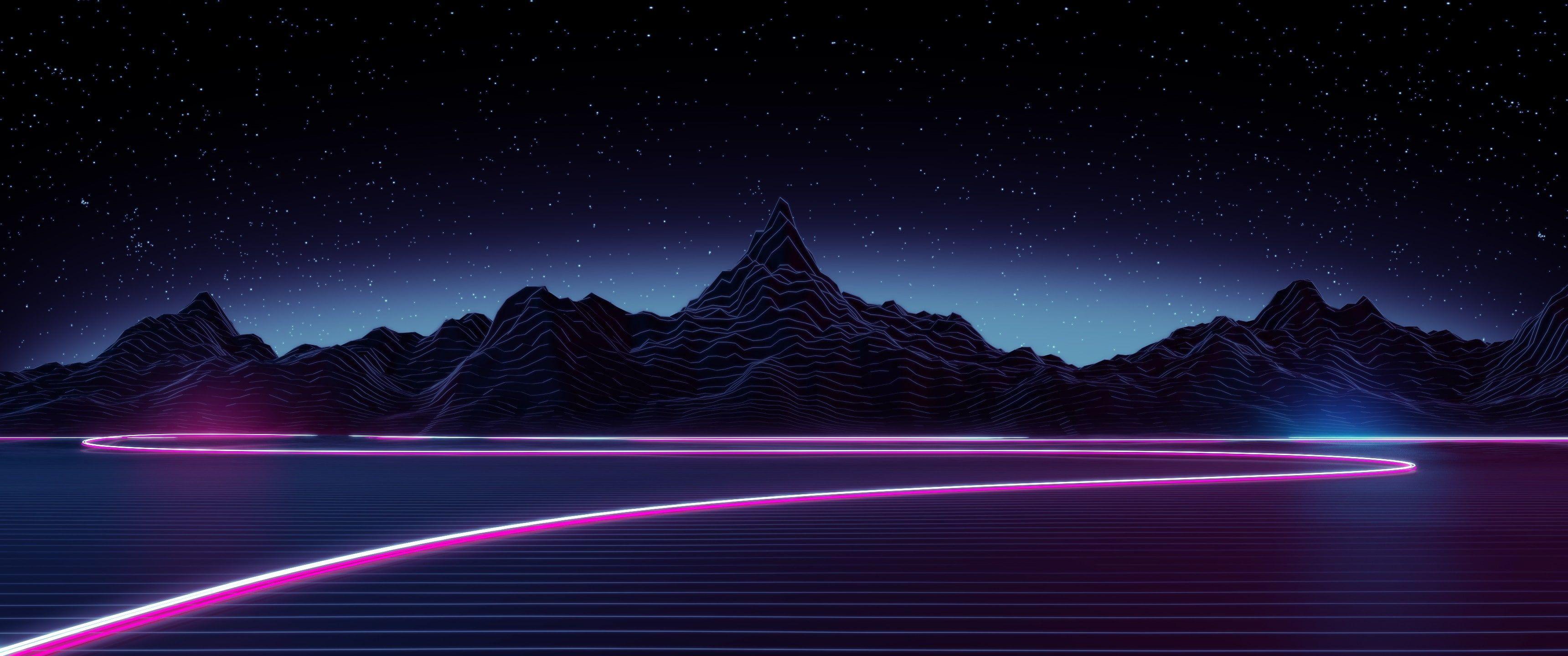 Neon Synthwave Digital Art Mountains Stars Retro Style Lake 2k Wallpaper Hdwallpaper Desktop Vaporwave Wallpaper Neon Wallpaper Aesthetic Wallpapers