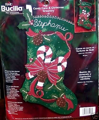Bucilla Candy Cane  Greenery Felt Christmas Stocking Kit OOP Holly