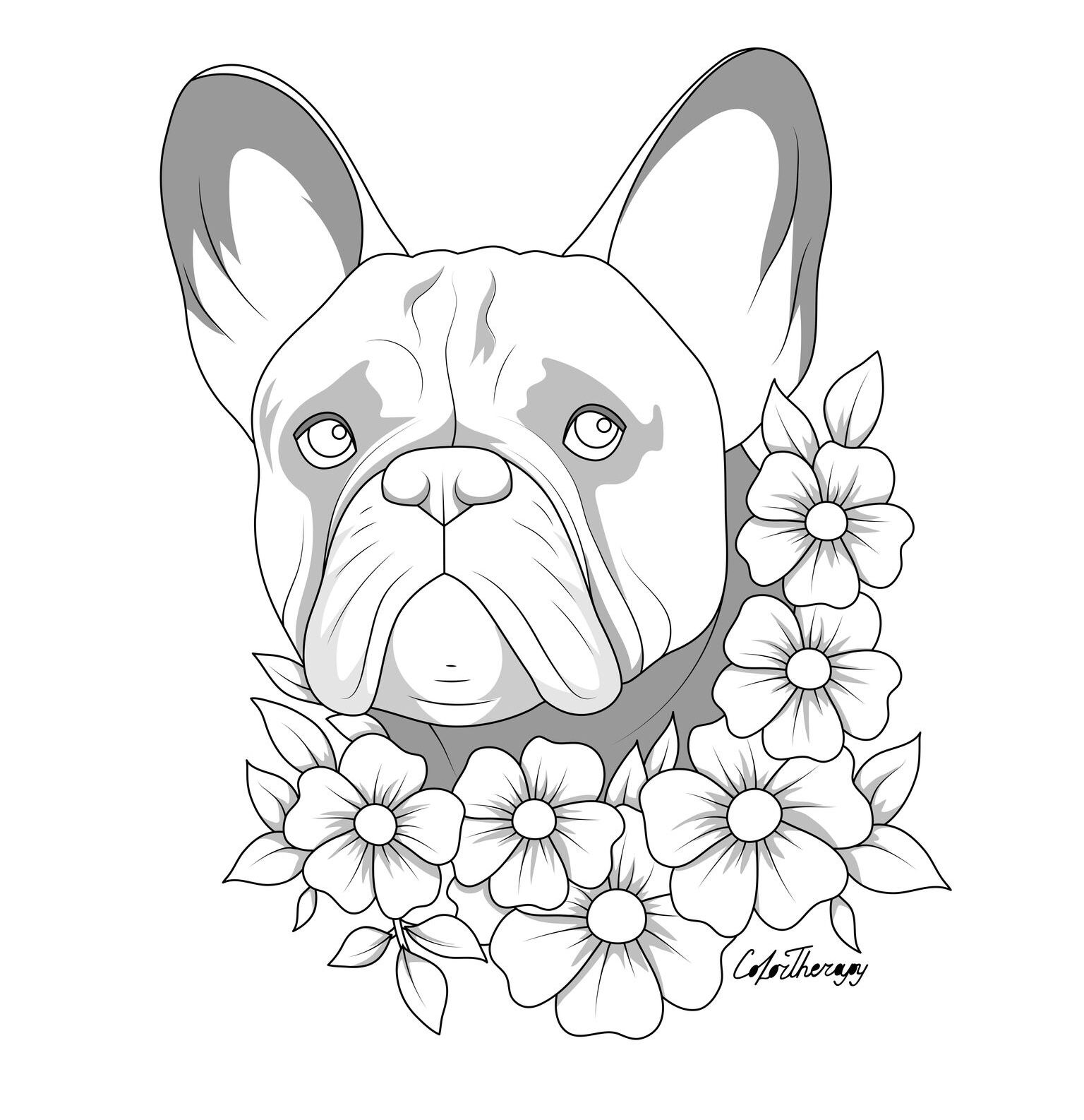 The Sneakpeek For The Next Gift Of The Day Tomorrow Do You Like This One French Bulldog Floral Dog Coloring Page Bulldog Drawing Horse Coloring Pages